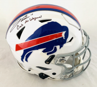 """Josh Allen Signed Bills Full-Size Authentic On-Field SpeedFlex Helmet Inscribed """"Circle The Wagons!"""" (Beckett COA) at PristineAuction.com"""