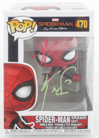 "Tom Holland & Kevin Feige Signed ""Spider-Man: Far From Home"" #470 Spider-Man (Upgraded Suit) Funko Pop! Vinyl Figure (Beckett COA) at PristineAuction.com"