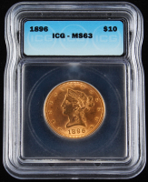 1896 $10 Liberty Head Gold Coin (ICG MS63) at PristineAuction.com