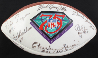 NFL 75th Anniversary Logo Football Signed by (17) with Walter Payton, Gale Sayers, Randy White, Dick Butkus with Multiple Inscriptions (JSA ALOA) at PristineAuction.com