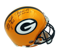 Packers MVPs Full-Size Authentic On-Field Helmet Signed By (4) With Bart Starr, Brett Favre, Jim Taylor & Paul Hornung With Multiple Inscriptions (Beckett LOA) at PristineAuction.com