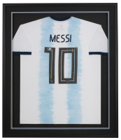 Lionel Messi Signed Jersey 32x36 Custom Framed Jersey (Beckett COA) at PristineAuction.com