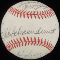 1957 Braves OAL Baseball Team-Signed by (15) with Hank Aaron, Eddie Mathews, Red Schoendienst (JSA ALOA) at PristineAuction.com
