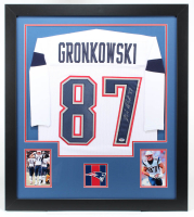 Rob Gronkowski Signed 31x35 Custom Framed Jersey (PSA COA) at PristineAuction.com