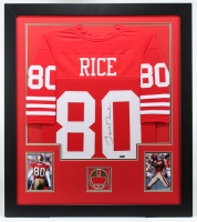 Jerry Rice Signed 31x35 Custom Framed Jersey (TriStar Hologram) at PristineAuction.com