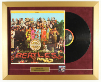 "Vintage The Beatles ""Sgt. Pepper's Lonely Hearts Club Band"" 18x22 Custom Framed Vinyl Record Display with Vintage Beatles Album Lapel Pin at PristineAuction.com"