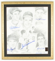 """Boston Red Sox """"Ted Williams and Friends"""" AP 19x21 Custom Framed Lithograph Display Signed by (6) with Ted Williams, Bobby Doerr & Dom DiMaggio (Ted Williams COA) at PristineAuction.com"""