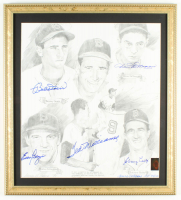 """""""Ted Williams & Friends"""" AP 19x21 Custom Framed Lithograph Display Signed by (6) with Ted Williams, Bobby Doerr, Dom DiMaggio (Ted Williams COA) at PristineAuction.com"""