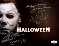 "Jim Winburn, Tony Moran & Nick Castle Signed ""Halloween"" 8x10 Photo with Multiple Inscriptions (JSA COA) at PristineAuction.com"