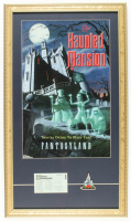 "Tokyo Disneyland ""Haunted Mansion"" 15x23 Custom Framed Print Display with 1983 Commemorative Opening Day Lapel Pin & Vintage Tokyo Disneyland E-Ride Ticket at PristineAuction.com"