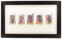 Lakers 28x45 Custom Framed LE Lithograph Signed by (5) with Wilt Chamberlain, Jerry West, Magic Johnson, Elgin Baylor, & Kareem Abdul-Jabbar (JSA ALOA) (See Description) at PristineAuction.com