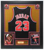 Michael Jordan 33x37 Custom Framed Jersey Display with Bulls Pin at PristineAuction.com