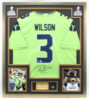 Russell Wilson Signed Seahawks 32x36 Custom Framed Nike Jersey (PSA COA & Wilson Hologram) at PristineAuction.com