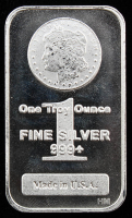 Morgan Dollar Design 1 Troy Oz. .999 Fine Silver Buillon Bar from Highland Mint at PristineAuction.com
