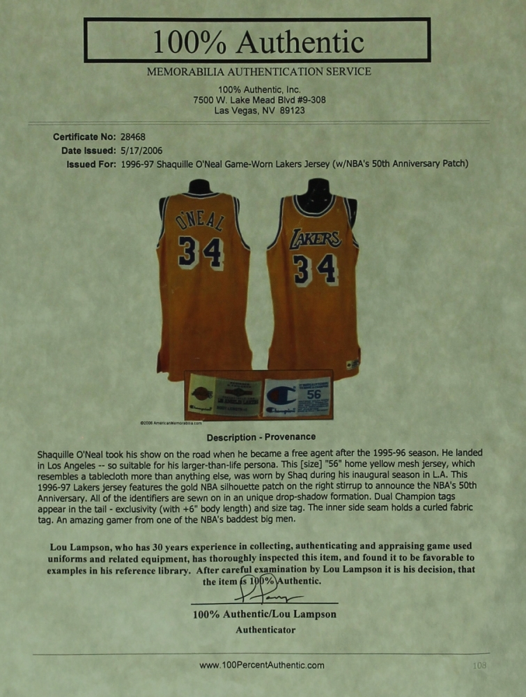 3d28dba3d Shaquille O Neal Game-Worn Lakers Jersey (Lampson LOA) at PristineAuction.