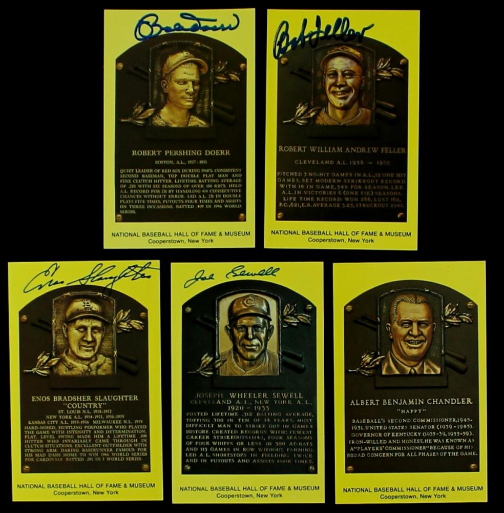 Lot Of 5 Signed Gold HOF Postcards With Bob Feller Bobby Doerr