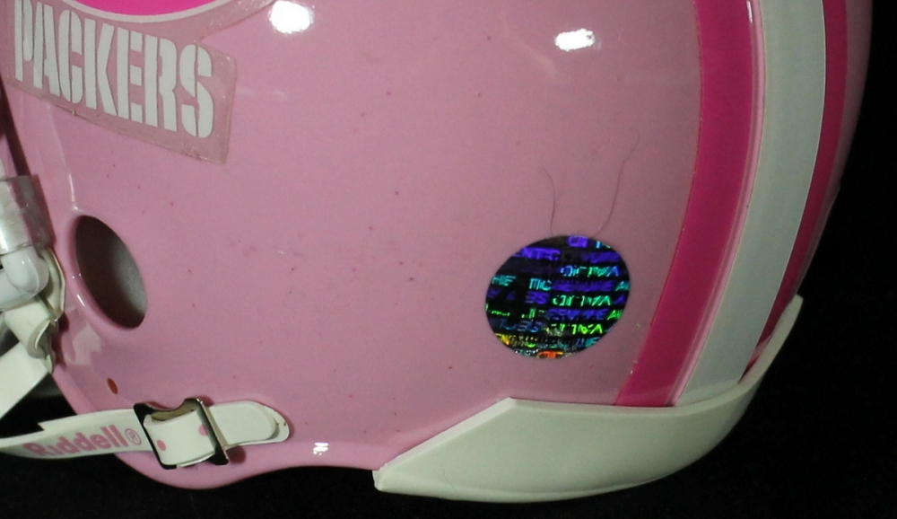 9a21cd30a Brett Favre Signed Packers Pink Breast Cancer Awareness Mini-Helmet (Favre  COA) at
