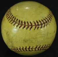 The Pride of the Yankees Cast Signed Vintage Baseball with Babe Ruth, Bill Dickey, Lefty O'Doul, Teresa Wright, Gary Cooper & Babe Herman (JSA LOA) at PristineAuction.com