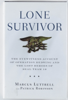 "Marcus Luttrell Signed ""Lone Survivor"" Hard Cover Book Inscribed ""Never Quit"" (JSA COA) at PristineAuction.com"