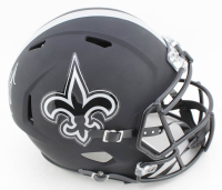 Drew Brees Signed Saints Full-Size Matte Black Speed Helmet (Beckett COA) at PristineAuction.com