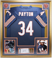 Walter Payton Signed 32x36 Custom Framed Cut Display With (2) Walter Payton Pins (PSA Encapsulated) at PristineAuction.com