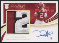 Jalen Hurts 2020 Immaculate Collection Collegiate #149 Autograph Patch Relic RC #1/5 at PristineAuction.com