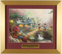"Thomas Kinkade ""Mickey & Minnie on Sweetheart Bridge"" 16x16 Custom Framed Print Display at PristineAuction.com"