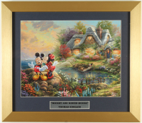 "Thomas Kinkade Walt Disney's ""Mickey & Minnie Mouse"" 16x16 Custom Framed Print Display at PristineAuction.com"