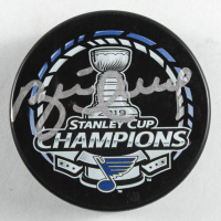 Brett Hull Signed 2019 Stanley Cup Champions Logo Hockey Puck (PSA COA) at PristineAuction.com