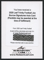 Joe Burrow 2020 Leaf Trinity Football Signatures Auto Card RC - Redemption at PristineAuction.com