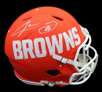 Jarvis Landry Signed Browns Full-Size Authentic On-Field AMP Alternate Speed Helmet (JSA COA) at PristineAuction.com