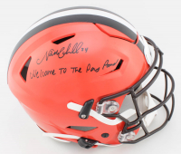 "Nick Chubb Signed Browns Full-Size Authentic On-Field SpeedFlex Helmet Inscribed ""Welcome To The Dawg Pound"" (JSA COA) at PristineAuction.com"
