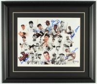 500 Home Run Club 14x16 Custom Framed Photo Signed by (6) with Mickey Mantle, Joe DiMaggio, Hank Aaron, Frank Robinson, Ralph Kiner, & Stan Musial (PSA LOA) at PristineAuction.com