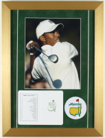 Tiger Woods Augusta National Golf Club 14x19 Custom Framed Photo Display with a Masters Patch and Official Scorecard at PristineAuction.com