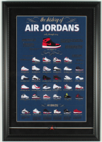 The History of Air Jordans 15x21 Custom Framed Photo Display with an Air Jordan Pin at PristineAuction.com