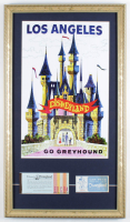 Disneyland 15x27 Custom Framed Print Display with Vintage Ticket Booklet & Parking Pass at PristineAuction.com