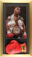 Mike Tyson Signed 16x28 Custom Framed Boxing Glove Display with Photo of Mike Tyson (PSA COA) at PristineAuction.com