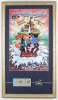"Disneyland ""Splash Mountain"" 15x26 Custom Framed Poster Display with Vintage Splash Mountain Pin & Ticket Booklet at PristineAuction.com"