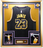 LeBron James 32x36 Custom Framed Jersey Display with Lakers Championships Pin at PristineAuction.com