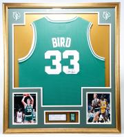 Larry Bird Signed 32x36 Custom Framed Jersey Display with Vintage Celtics Championship Pin (Bird Hologram) at PristineAuction.com
