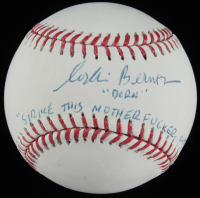 "Corbin Bernsen Signed ""Major League"" OML Baseball Inscribed ""Dorn"" & ""Strike This M*********** Out!"" (JSA COA) at PristineAuction.com"