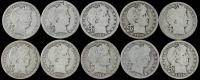 Lot of (10) 1898-1916 Barber Silver Quarter Dollars at PristineAuction.com