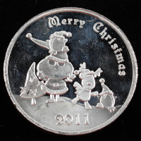 2011 Merry Christmas 1 Troy Ounce .999 Fine Silver Bullion Round at PristineAuction.com