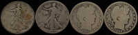 Lot of (4) Silver Half Dollars with 1908 Barber, 1909 Barber, 1917-S Walking Liberty, & 1920 Walking Liberty at PristineAuction.com
