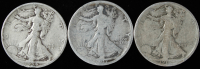 Lot of (3) Walking Liberty Silver Half Dollars with 1917, 1918-S, & 1934-S at PristineAuction.com