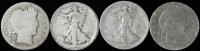 Lot of (4) Silver Half Dollars with 1901 Barber, 1903-O Barber, 1918 Walking Liberty, & 1918-D Walking Liberty at PristineAuction.com