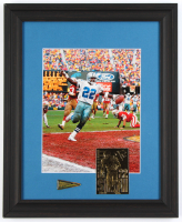 Emmitt Smith Cowboys 13x16 Custom Framed Photo Display with 22kt Gold Card & Superbowl XXVIII Champion Pin at PristineAuction.com