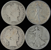 Lot of (4) Silver Half Dollars with 1901-O Barber, 1912-D Barber, 1917-S Walking Liberty, & 1917 Walking Liberty at PristineAuction.com