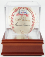1992 World Series Baseball Team-Signed by (13) With Ted Williams, Larry Doby, Warren Spahn, Bob Gibson, Joe Garagiola With Display Case (PSA LOA) at PristineAuction.com