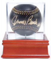 """Johnny Bench Signed OML Black Leather Baseball Inscribed """"HOF 89"""" with Display Case (PSA COA) at PristineAuction.com"""